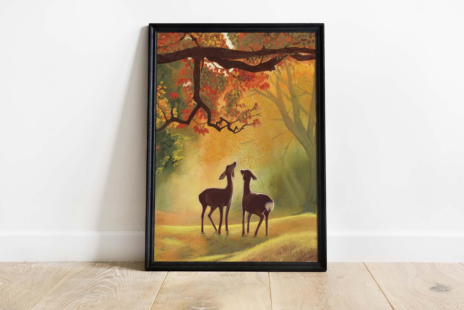 tableau peinture animaux chevreuils