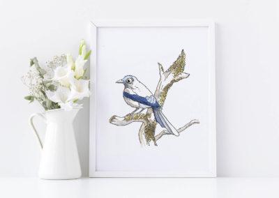 Oiseau sur branche – Aquarelle