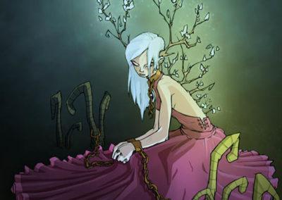 La fille aux bois